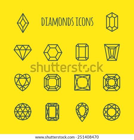 Diamonds Vector Line Icons Set  - stock vector