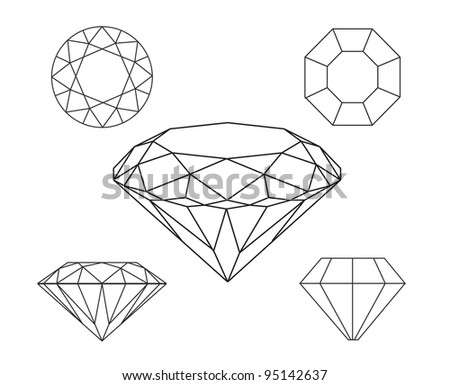 Diamonds wireframe on white background - stock vector