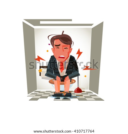 diarrhea or stomach pain, character design - vector illustration