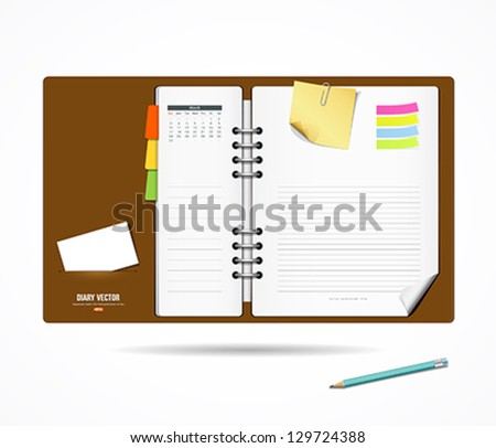 Diary note book and notepad with pencil, modern design background, vector illustration - stock vector