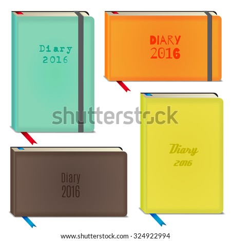 Diary 2016 set, vector stationary notebooks with elastic band in different colours - stock vector