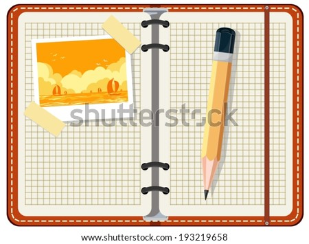 Diary to record travel - stock vector