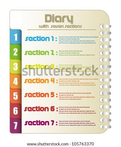 Diary with seven color sections - stock vector