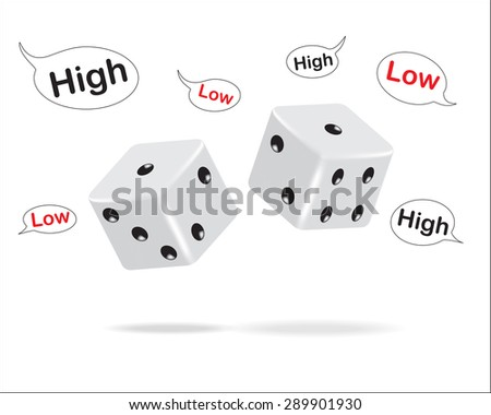 Dice and high-low text frames, Vector illustration eps10.  - stock vector