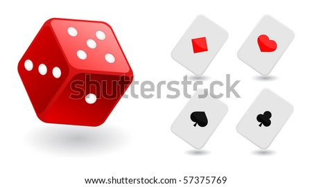 dice and playing cards - stock vector