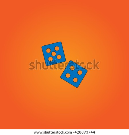 Dice. Blue flat icon with black stroke on orange background. Collection concept vector pictogram for infographic project and logo - stock vector
