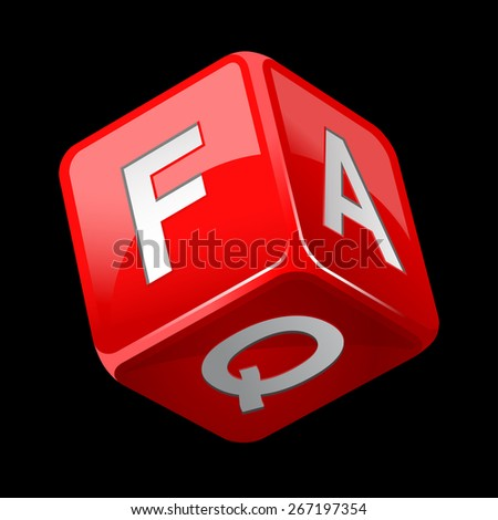 dice faq icon isolated on black - stock vector
