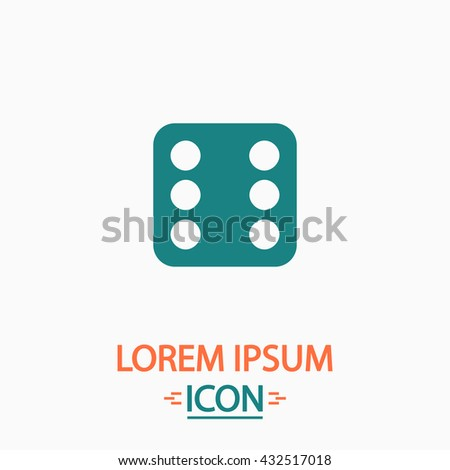 Dice 6 Flat icon on white background. Simple vector illustration - stock vector