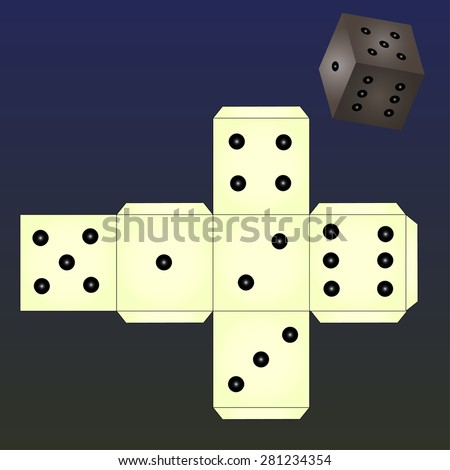 Dice for games. Paper Dice Template. Vector, 3D.