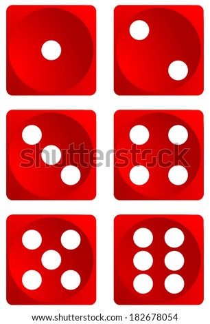Dice for games turned on all sides and with all the numbers. Numbers of dice, one, two, three, four, five, six. Red dice vector art image objects illustration eps10, isolated on white background - stock vector