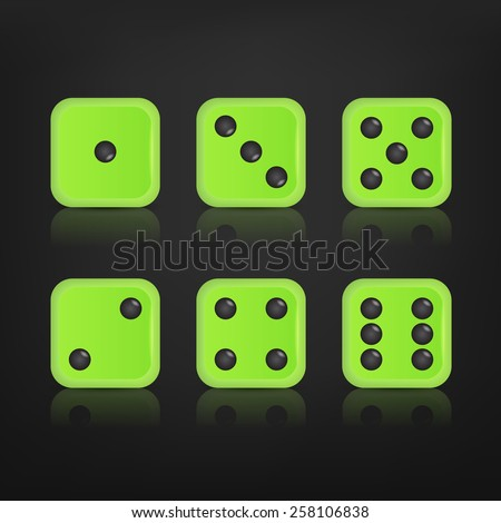 Dice for games turned on all sides with all the numbers and with reflection. Numbers of dice, one, two, three, four, five, six. Vector eps10 illustration.  - stock vector