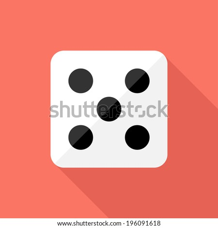 Dice icon. Flat design style modern vector illustration. Isolated on stylish color background. Flat long shadow icon. Elements in flat design. - stock vector