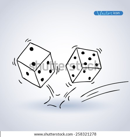 Dice icon, hand drawn vector illustration. - stock vector