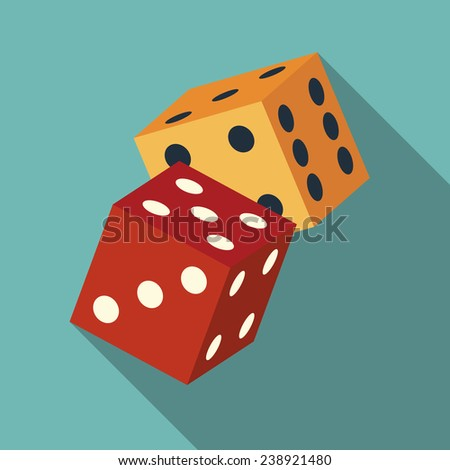 dice icon with long shadow. flat style vector illustration - stock vector