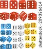 Dice in Several Positions and Colors - stock photo