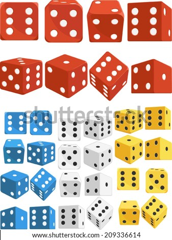 Dice in Several Positions and Colors - stock vector