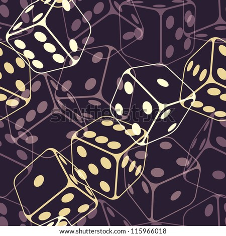 Dice seamless background pattern. Vector illustration (eps10). - stock vector