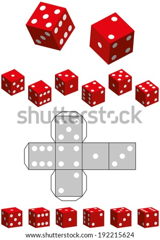 Dice Template - Sewing pattern of a cube and various 3D views. Isolated Vector. - stock vector