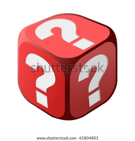 Dice with question marks - stock vector
