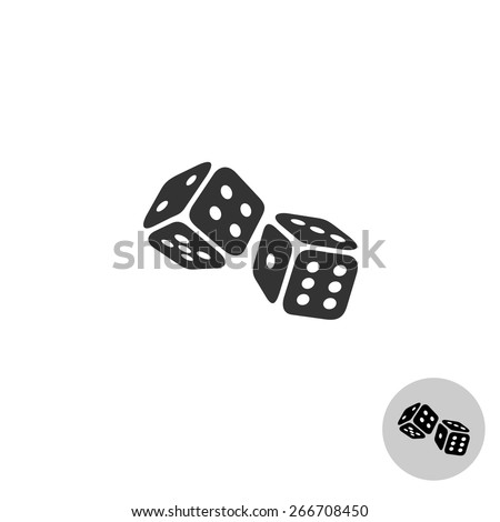 Dices simple black logo icon - stock vector