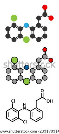 Diclofenac pain and inflammation drug (NSAID) molecule. Conventional skeletal formula and stylized representations.  - stock vector