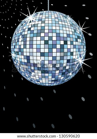 dicoball on black, retro party background, in vector format only solid colors