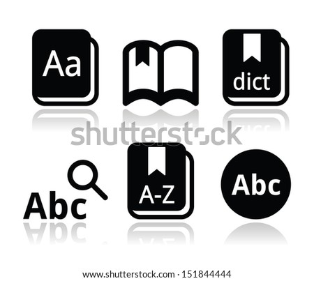 Dictionary book vector icons set - stock vector