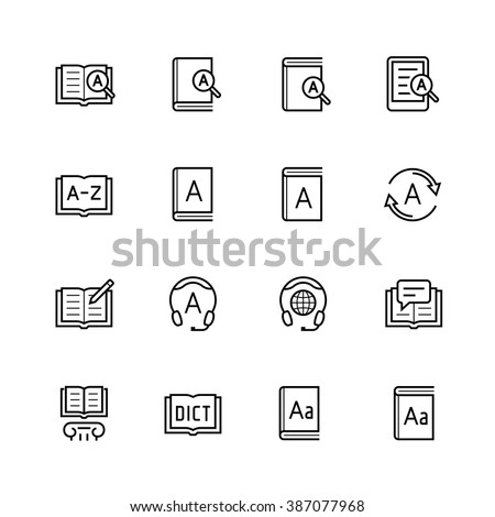 Dictionary, vocabulary book icon set in thin line style - stock vector