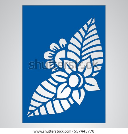 Die cut card. Laser cut vector panel. Cutout silhouette with botanical pattern. Filigree leaves for paper cutting.