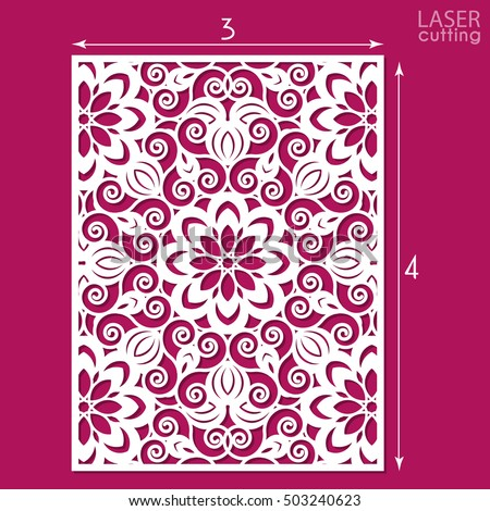 die cut ornamental panel pattern template stock vector 503240623