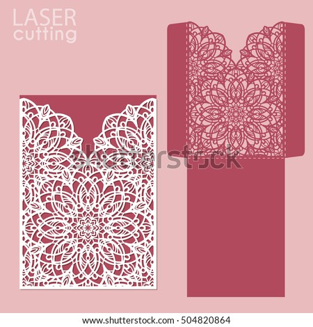 Vector Die Laser Cut Envelope Template Stock Vector 504820870