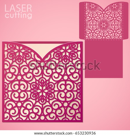 Die Laser Cut Wedding Card Vector Stock Photo Photo Vector