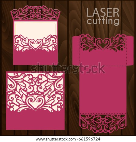 Die Laser Cut Wedding Card Vector Stock Vector 661596724