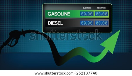 Diesel and gasoline price growth illustration Fuel pistol with green up arrow.diesel and gasoline price display in background - stock vector