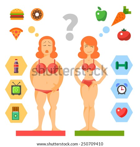 Diet. Choice of girls: being fat or slim. Healthy lifestyle and bad habits. Vector flat illustrations - stock vector