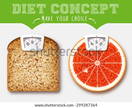 Diet concept. Food with Scale for a Weighing Machine - stock vector