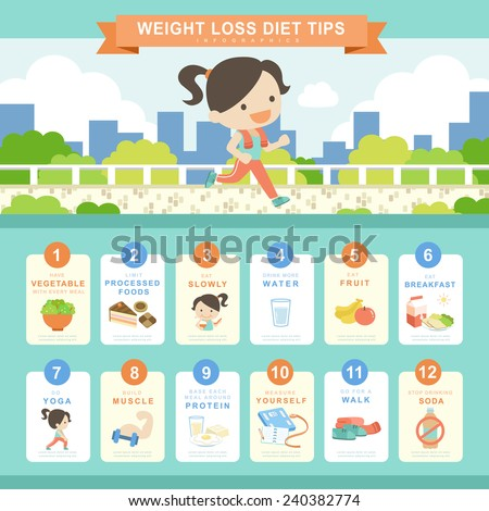 diet concept infographic template design with shopping bags element - stock vector