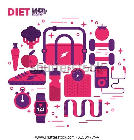 Diet, Flat Design, Illustration - stock vector