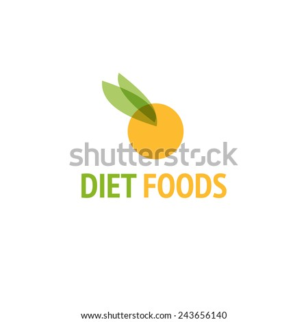 Diet food logo design vector template. Orange icon - stock vector