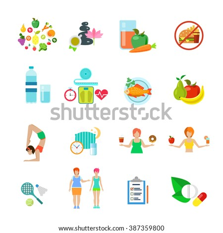 Diet healthy nutrition lifestyle web flat vector icon set. Fast food fresh pure juice water spa fruit vegetable raw fish supplementary dietary supplement pill sleep regime schedule weight loss woman - stock vector