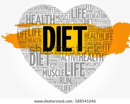 DIET Heart Word Cloud Fitness Sport Health Concept