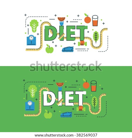 Diet lettering flat line design with icons and elements for book cover, report header, presentation,illustration, infographics, printing, website banner and landing page.