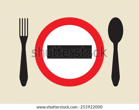 diet or hunger strike sign - stock vector