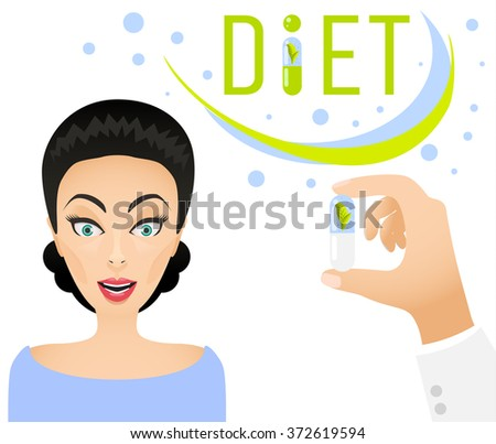 Diet pills ad banner concept. Healthy lifestyle Dietary supplement. Happy woman and doctor hand holding a pill. Medicine innovative organic pills and pastille. - stock vector