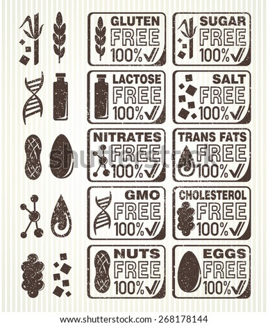 Diet signs collection. Gluten free, lactose free, sugar free, salt free, nuts free, eggs free, nitrates free, cholesterol free, trans fats free, GMO free labels. - stock vector