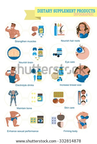 Dietary supplement products Vector Illustration - stock vector