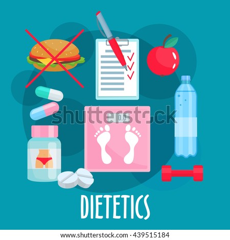 Dietetics symbols with weight loss tips such as fresh apple fruit, prohibition sign of fast food, bottle of water and food diary, dumbbell, vitamins, diet pills and scales in the center - stock vector