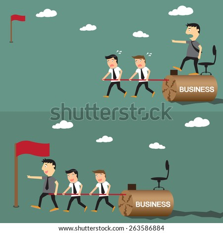 difference between boss and leader, leadership business concept, vector illustration. - stock vector