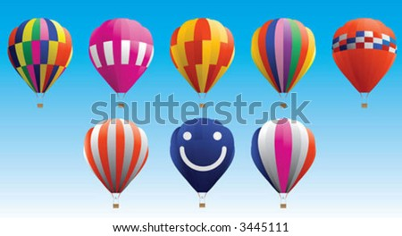 Difference type of colour hot air balloon - stock vector