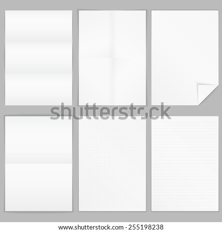 Different A4 format paper - folded paper, paper with curl, paper with lines and squares, vector eps10 illustration - stock vector
